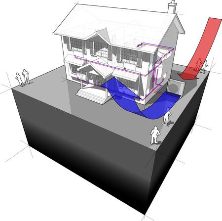 air-source heat pump diagram Illustration