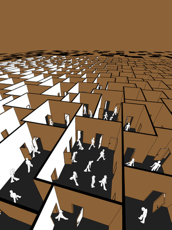 social gathering: lost and confused people in endless cubical labyrinth