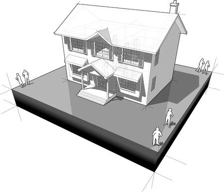 diagram van een klassiek koloniaal huis Stock Illustratie