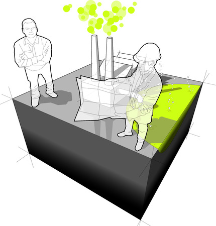 building inspector: Industrial pollution diagram with architect and customer Illustration