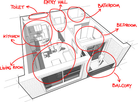 floorplan: Apartment diagram with hand drawn floorplan diagram