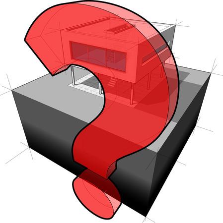 question mark: modernes Haus und Fragezeichen