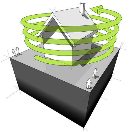 green issue: Green energy house diagram Illustration