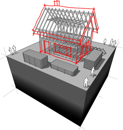 house under construction: House framework with detached house sketch over it Illustration