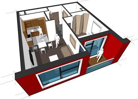 Perspectief opengewerkt diagram van een appartement met één slaapkamer