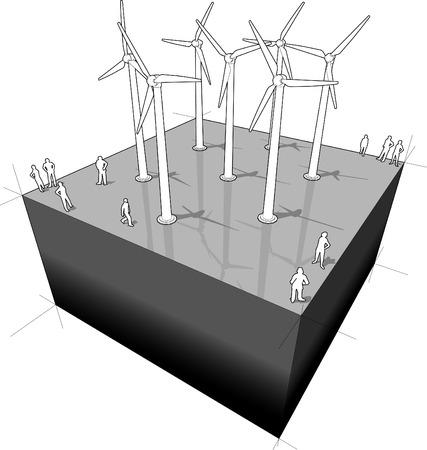windfarm: Turbine eoliche schema Vettoriali