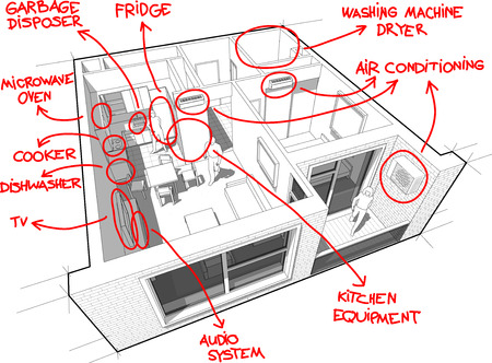 disposer: Apartment diagram with hand drawn notes Illustration