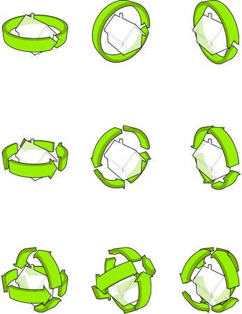 detached: colecci�n de nueve los diagramas de una vivienda unifamiliar sencilla con flechas verdes que giran alrededor de la casa