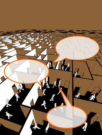woman searching: lost and confused people in endless cubical labyrinth with speech bubbles