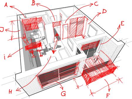 손으로 그린 건축가 노트와 아파트도 일러스트