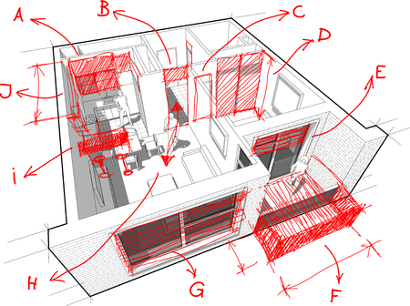 Apartment diagram with hand drawn architects notes Çizim