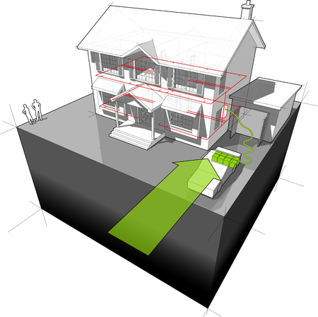 electric station: House powered with electrocar diagram Illustration