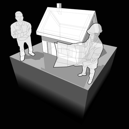 building inspector: detached house with architect and customer diagram Illustration