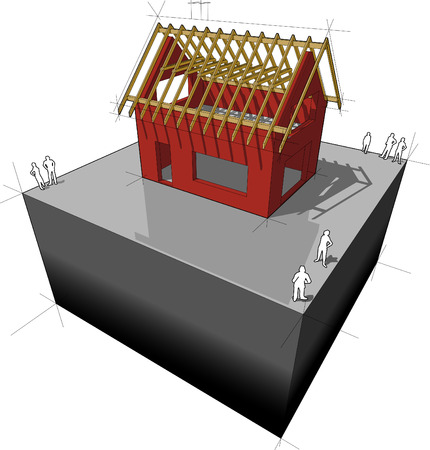 house construction: Construction of simple detached house with wooden roof framework construction