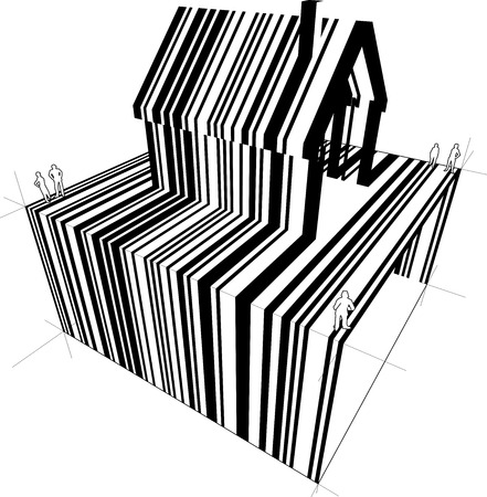 detached: Barcode diagram in form of a detached house