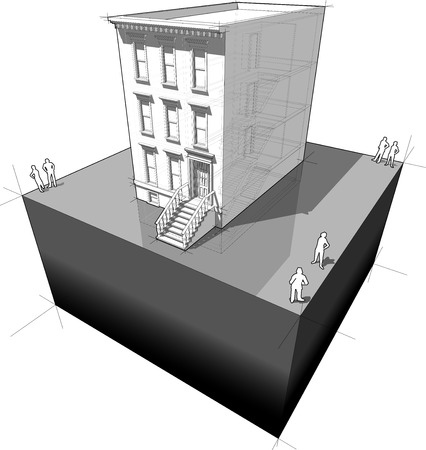 brownstone: diagram of a typical american townhouse