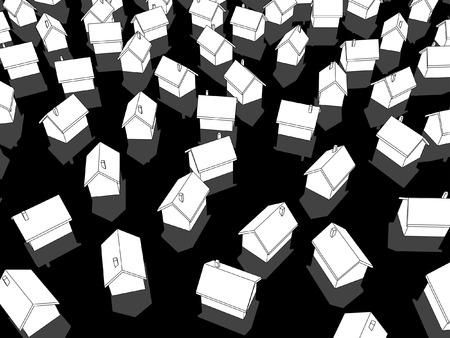 multiple house: white houses on black ground