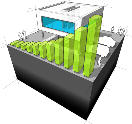 architecture detached house: Diagram of a modern house with rising bar business diagram