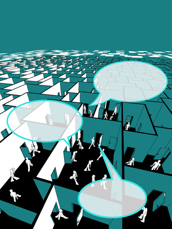 social gathering: lost and confused people in endless cubical labyrinth with speech bubbles