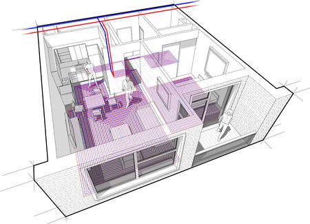 床下から来る暖房装置を持つアパート図