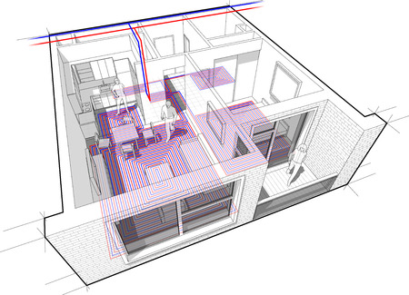 Apartment diagram with underfloor heating