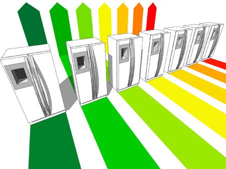 energetic: seven refrigerators certified in seven energetic classes Illustration