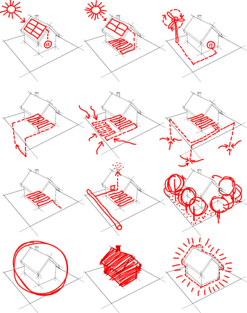 solar heating: collection of 12 diagrams of a simple detached house showing possibilities of alternative energy solutions such as photovoltaic panels, wind turbines and heat pump
