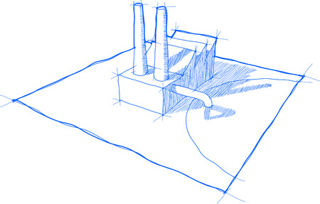 smokestack: sketch of factory with shadows and no background Illustration
