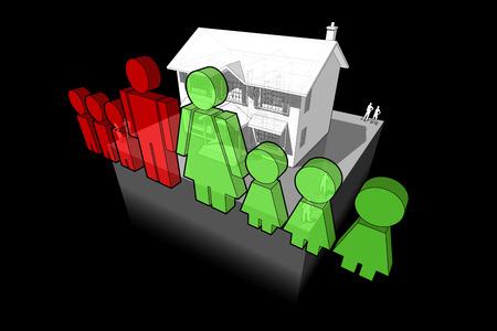 casa colonial: diagrama de una casa y la familia signo clásico colonial compuesto por el hombre y la mujer y seis hijos Vectores