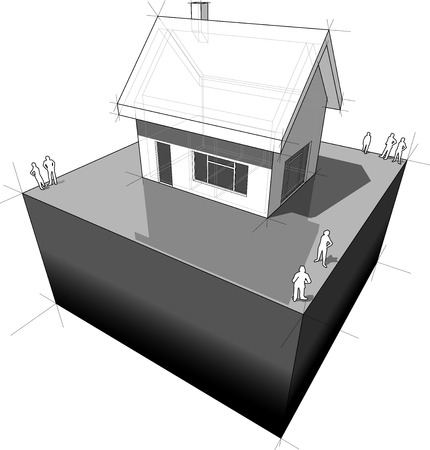 diagram of a simple detached house with doors and windows