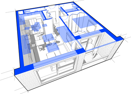 Perspectief opengewerkt diagram van een appartement met een slaapkamer volledig ingericht met blauwe plattegrond overlay boven