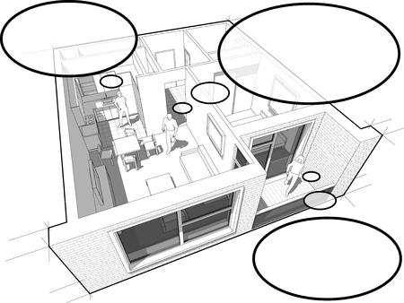 one people: Perspective cut away diagram of a one bedroom apartment completely furnished with people with comic thought bubbles Illustration