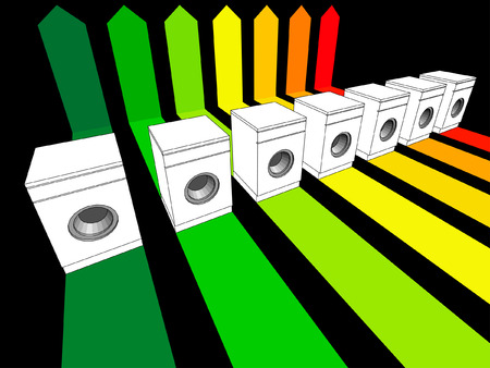 energetic: seven washing machines certified in seven energetic classes in energy rating diagram Illustration