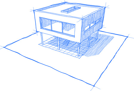 modern house sketch: sketch of modern house with shadows and no background Illustration