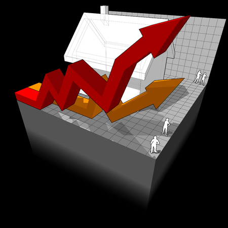 commision: diagram of a detached house with two rising business diagram arrows Illustration