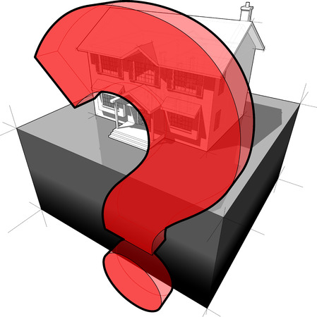 questionmark: diagram of a classic colonial house and question mark