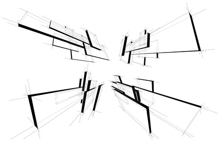 collection of abstract geometric rectangular design elements in perspective
