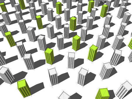 green buildings: green ecological apartment houses or office buildings standing out from others