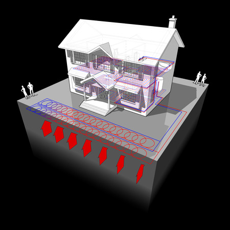 floor heating: diagram of a classic colonial house with air source heat pump as source of energy for heating and floor heating