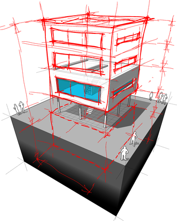 redesign: diagram of a possible  modern house redesign  adding two extra stories and basement