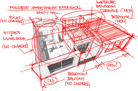 adding: perspective cutaway diagram of a one bedroom apartment completely furnished with red hand drawn architectural sketches over it regarding a possible apartment extension by adding extra room from neighbour apartment