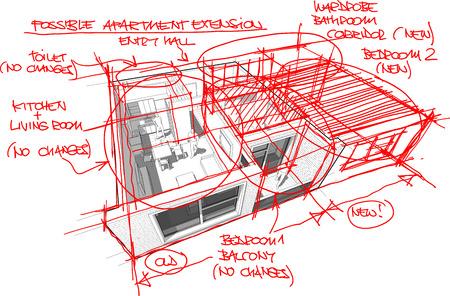 Wohnung Mit Fussbodenheizung Und Warmepumpe Von Hand Gezeichnet