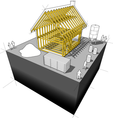 house under construction: Construction of simple detached house with wooden framework construction and construction equipment around Illustration