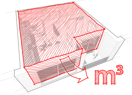 cut away: Perspective cut away diagram of a one bedroom apartment completely furnished with red hand drawn architectural room and cubic meters sketch