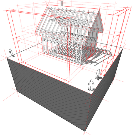 scale model: diagram of a framework construction of a detached house with 3D dimensions