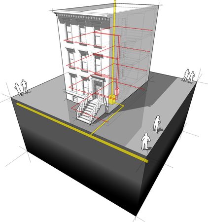 """townhome: diagram of a typical american townhouse (aka """"brownstone"""") with gas powered with micro combined heat and power generator"""