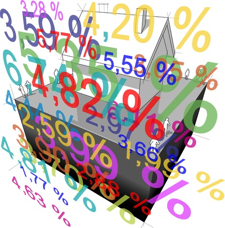 rate: diagram of a detached house with many interest rate percents in front of it