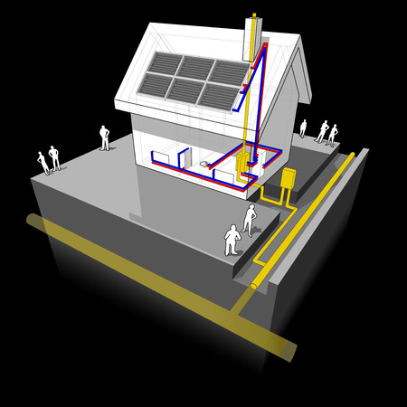 solar heating: diagram of a detached house with traditional heating with natural gas boiler and radiators with solar panels on the roof Illustration