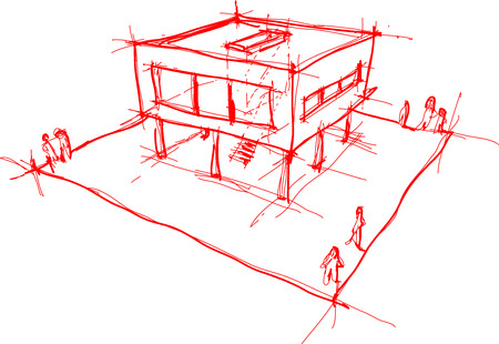 windows home: architectural sketch of modern house with no background