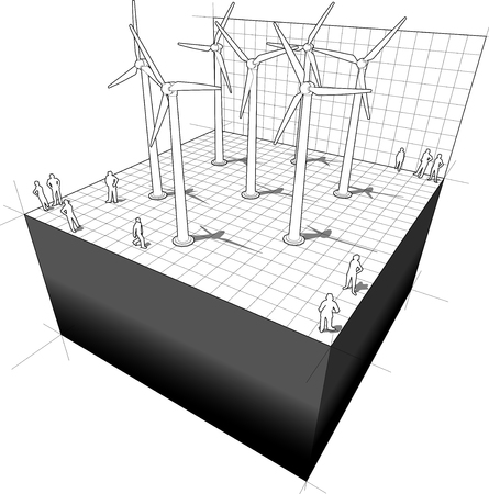 windpower: diagram of a wind turbines farm